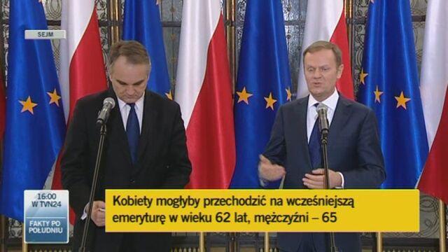 Premier o emeryturach częściowych (TVN24)