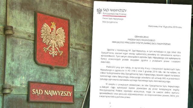 """""""W związku z powyższym oświadczam..."""". Prezes Izby Dyscyplinarnej odpowiada na apel Gersdorf"""