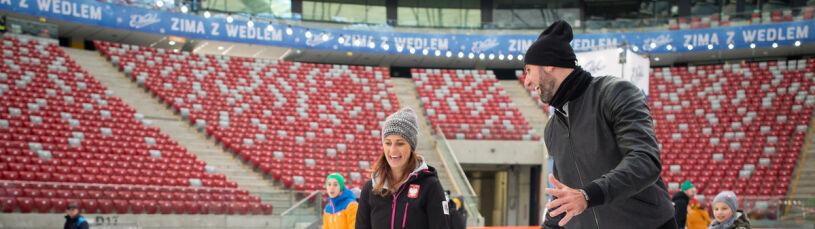 Lekcja WF-u na Narodowym, Gortat pierwszy raz na łyżwach: żyję, to jest najważniejsze