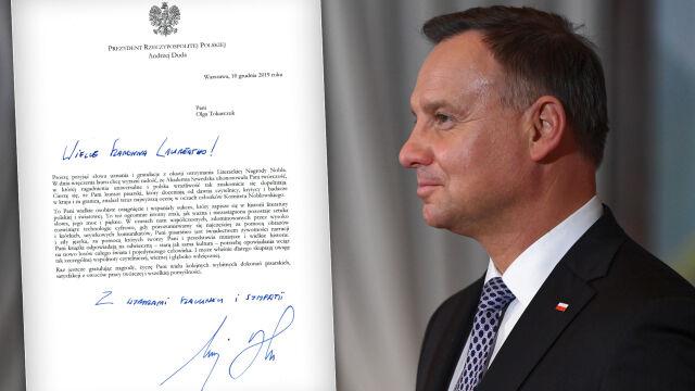 Prezydent napisał do Olgi Tokarczuk, na Pałacu wyświetlono jej wizerunek