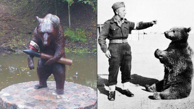 Odsłonili pomnik niedźwiedzia, który... walczył pod Monte Casino