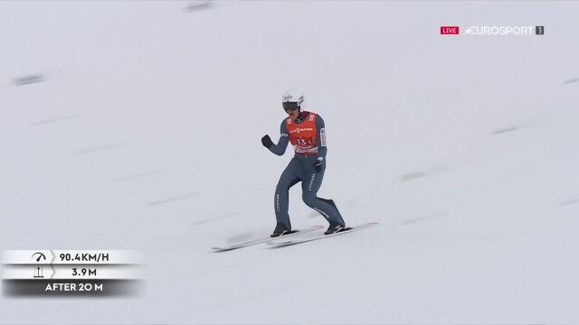 Skok Żyły z 1. serii konkursu drużynowego w MŚ
