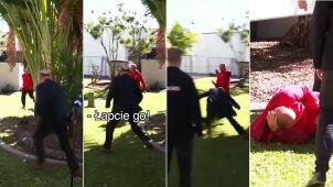 Policjant przerwał konferencję, by zatrzymać uciekiniera. Powalił go chwytem rugby