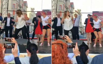 Liderzy Lewicy zatańczyli na scenie w Gnieźnie