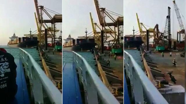 Kontenerowiec zniszczył dźwig i staranował statek