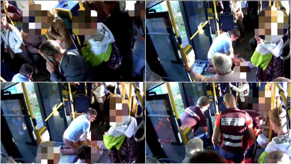 """Pasażerka zasłabła, rzucił się na pomoc. """"Nie miałaby szans"""". Jest nagranie, będzie nagroda"""