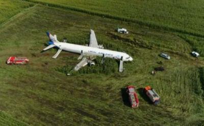 Awaryjne lądowanie w polu nieopodal Moskwy