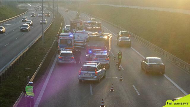 Wypadek na S8. Policja: kierowca wjechał na trasę pod prąd