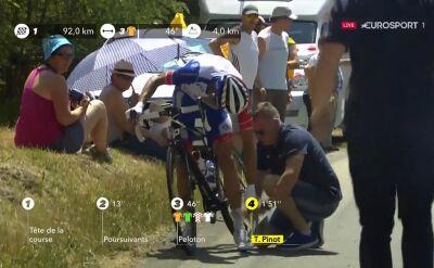 Tak zaczęły się problemy zdrowotne Pinot na 19. etapie Tour de France