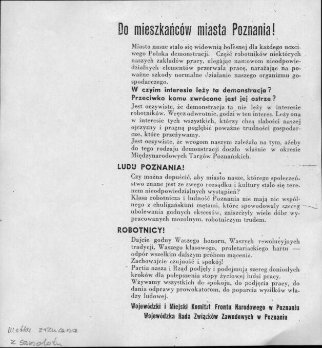 Odezwa do mieszkańców Poznania