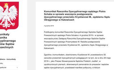 Rzecznik dyscyplinarny informuje o przedstawieniu Markiewiczowi 55 zarzutów przewinień dyscyplinarnych