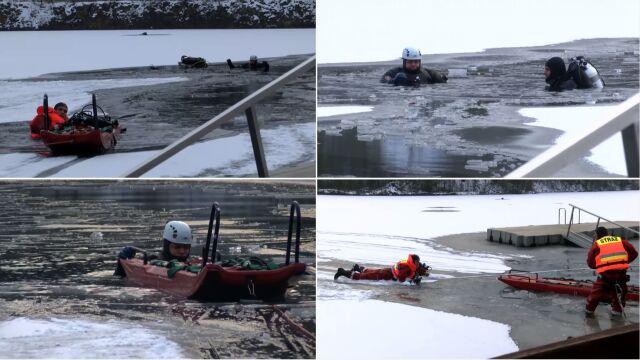 Od rana ćwiczyli ratowanie spod lodu, po południu naprawdę ratowali nurków