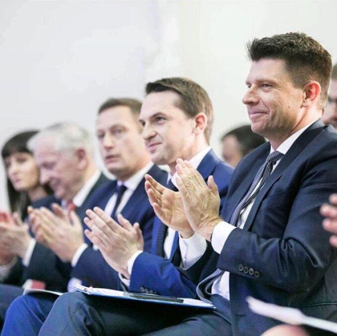 Paweł Rabiej na Radzie Krajowej Nowoczesnej z Ryszardem Petru i Adamem Szłapką, marzec 2018 r.