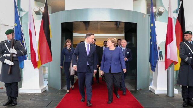 """""""Gęsta tematycznie"""" rozmowa prezydenta Dudy z kanclerz Merkel"""