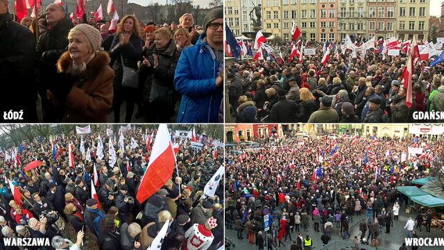 """Skandowali: """"Pod osłoną nocy PiS kraj na dno stoczy"""". Demonstracje KOD w całej Polsce"""