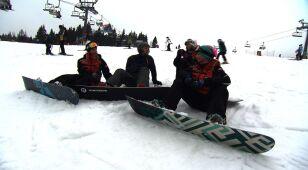 Kuźniar na snowboardzie