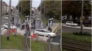 Gonił rowerzystę. Wjechał za nim na chodnik i z impetem w niego uderzył