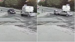 Zderzenie trzech samochodów w oku kamery. Roczne dziecko w szpitalu