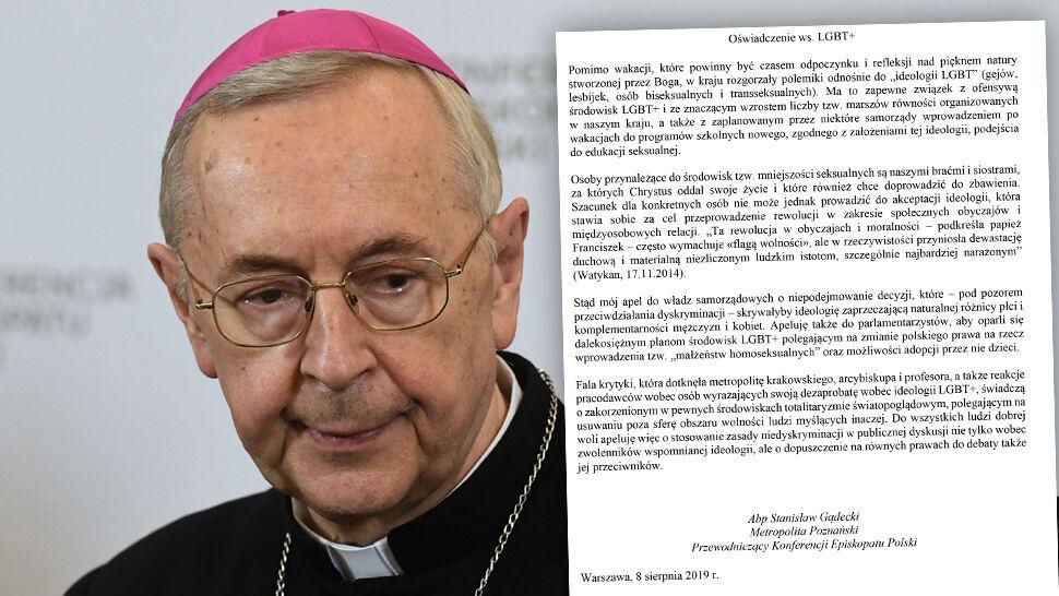 """Oświadczenie przewodniczącego KEP o """"LGBT+"""". Pisze o """"totalitaryzmie światopoglądowym"""""""