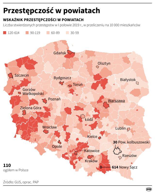 Przestępczość w powiatach