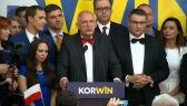 Całe wystąpienie Janusza Korwin-Mikkego po ogłoszeniu sondażowych wyników wyborów