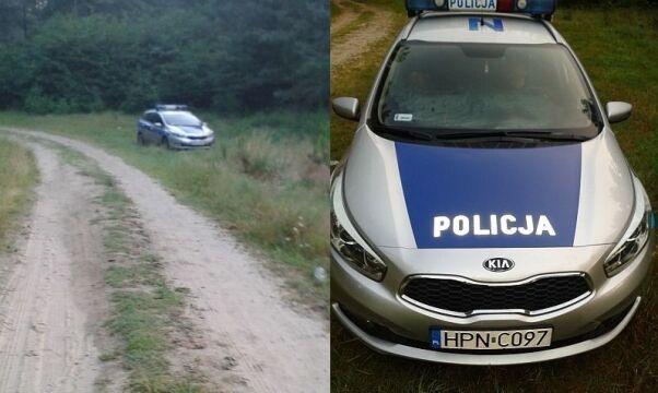 Radiowóz stał zaparkowany przy leśnej drodze