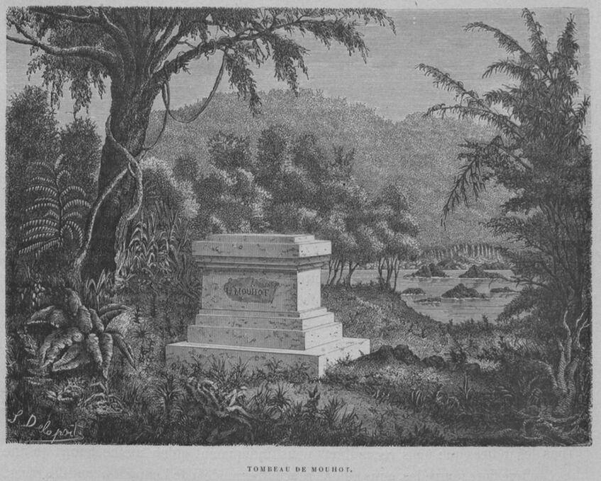 Grób Mouhota w 1873 roku. Podróżnik zmarł na malarię w dżunglach dawnego Angkoru