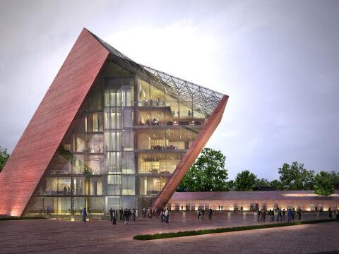 Powstanie nowoczesny, ogromny budynek