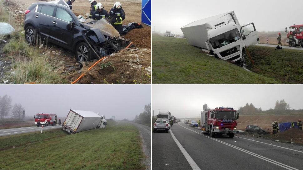 Ciężarówka zjechała na przeciwległy pas, doszło do zderzenia. Zginęła kobieta