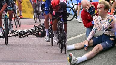 Pędził 60 km/h, uderzył głową o asfalt. Groźna kraksa na finiszu kolarskiego klasyka
