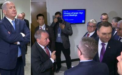 Premier Netanjahu w sali, prezydent Duda na korytarzu. Nieporozumienie przed spotkaniem