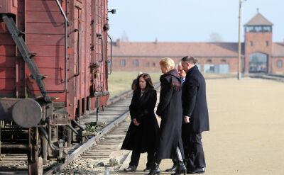 Duda i Pence w byłym obozie Auschwitz II-Birkenau