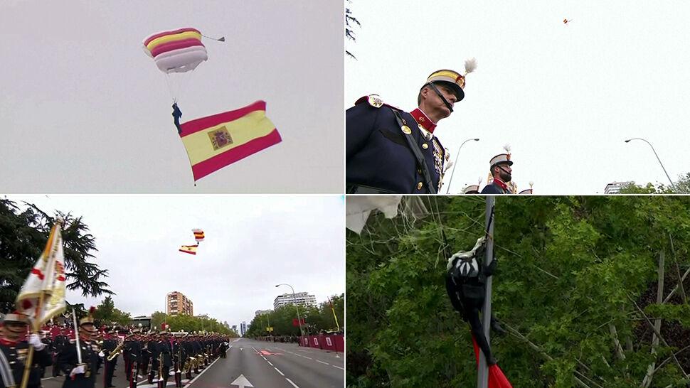 Wielka parada i wzrok króla. Spadochroniarz z flagą uderzył w latarnię