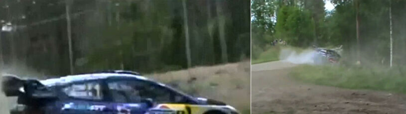 Samochód mistrza świata na drzewie. Pilot ze wstrząśnieniem mózgu