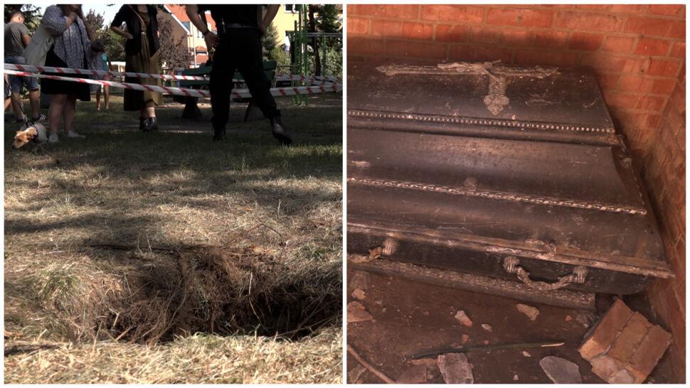 W parku zapadła się ziemia, dzieci prawie wpadły do grobowca. Zostanie on zasypany