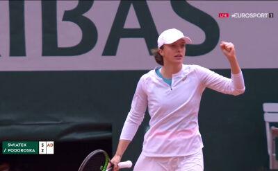 Świątek wygrała 1. seta w starciu z Podoroską w półfinale Roland Garros