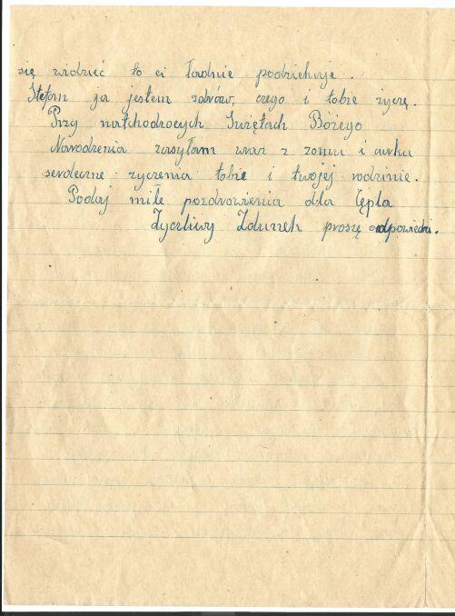 List Zdunka do Stefana Hoppela (druga strona)