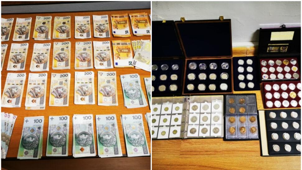 Kolekcjonerskie monety i dużo gotówki. Złodziejski łup ukryty w podwójnej ścianie