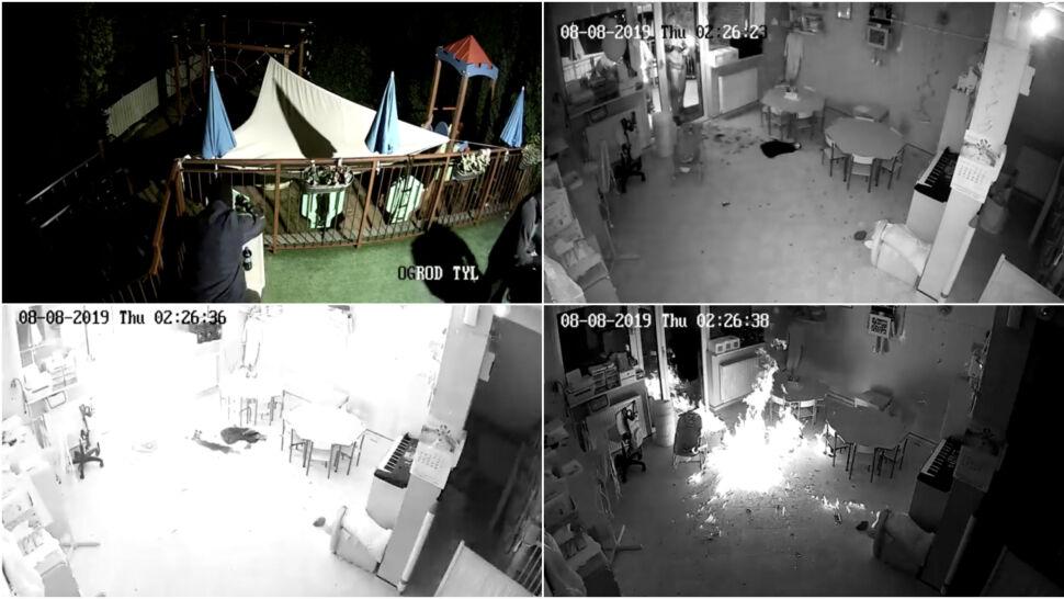 Wrzucili płonące butelki i podpalili przedszkole. Wszystko nagrały kamery