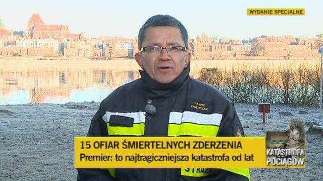 Rzecznik straży pożarnej podsumowuje akcję (TVN24)