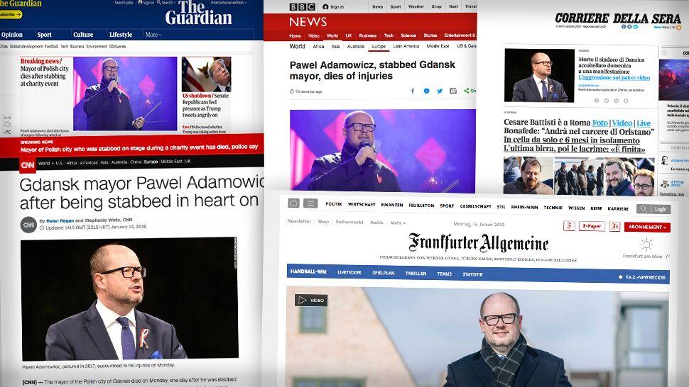 Zagraniczne media o śmierci prezydenta Gdańska