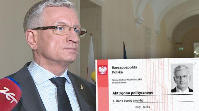 """Prokuratura umorzyła sprawę """"politycznych aktów zgonu"""". Prezydent Poznania składa zażalenie"""
