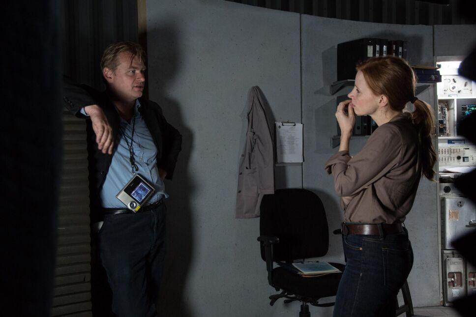 "Christopher Nolan i Jessica Chastain na planie filmu ""Interstellar"""