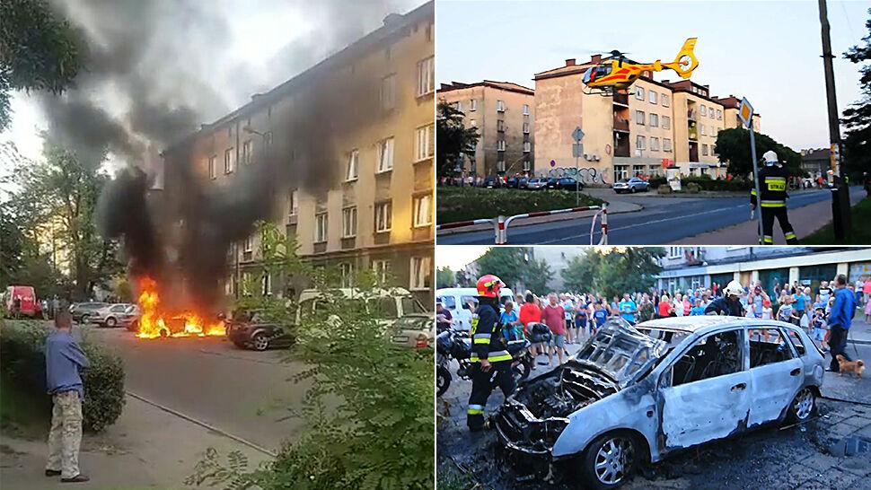 Płonie samochód, w środku trzyletni chłopiec, sam. Ojciec rzucił się w ogień na ratunek