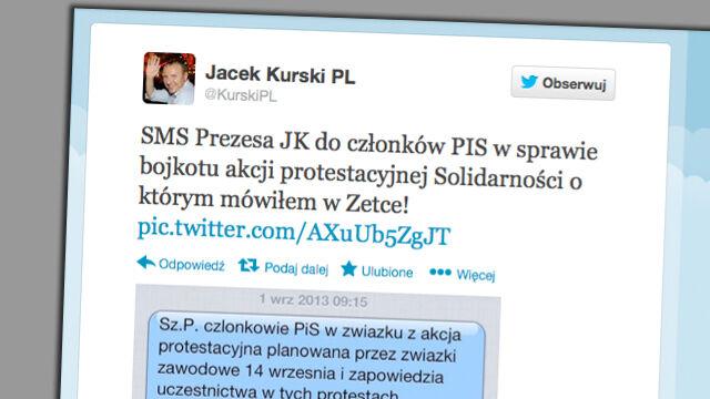 """Kurski pokazuje sms. Kaczyński zakazuje udziału w demonstracji """"Solidarności"""""""