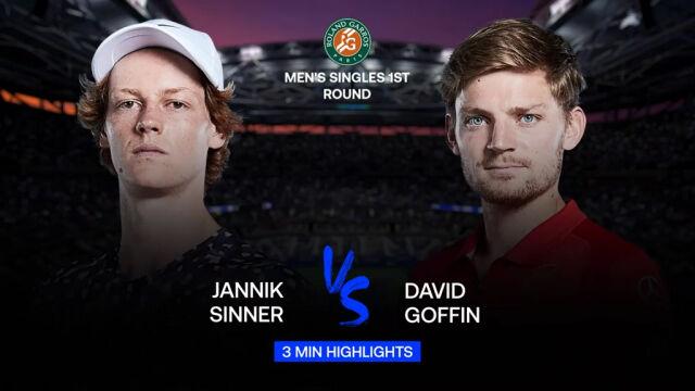 Skrót meczu Sinner - Goffin w 1. rundzie Roland Garros