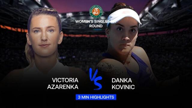 Skrót meczu Azarenka - Kovinić w 1. rundzie Roland Garros