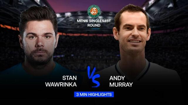 Skrót meczu Wawrinka - Murray w 1. rundzie Roland Garros