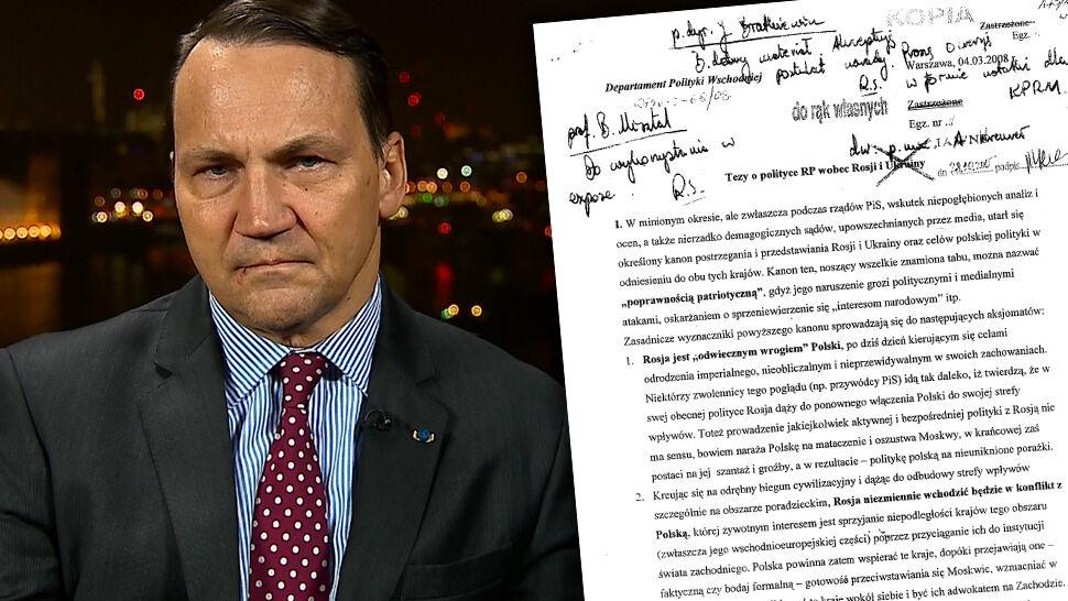 Sikorski: ujawnianie wewnętrznych notatek resortu to zbrodnia przeciwko dyplomacji