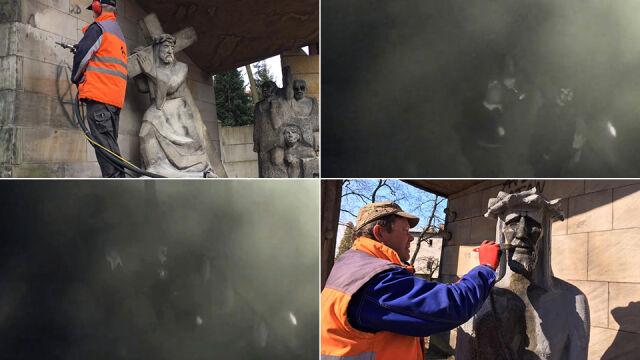 Figury świętych oczyszczone. Policja pokazuje twarze podejrzewanych o wandalizm